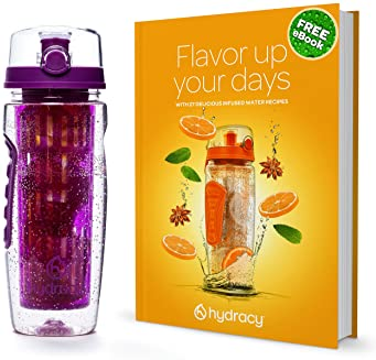 Hydracy Fruit Infuser Water Bottle - 32 oz Sports Bottle - Time Marker & Full Length Infusion Rod + 27 Fruit Infused ...