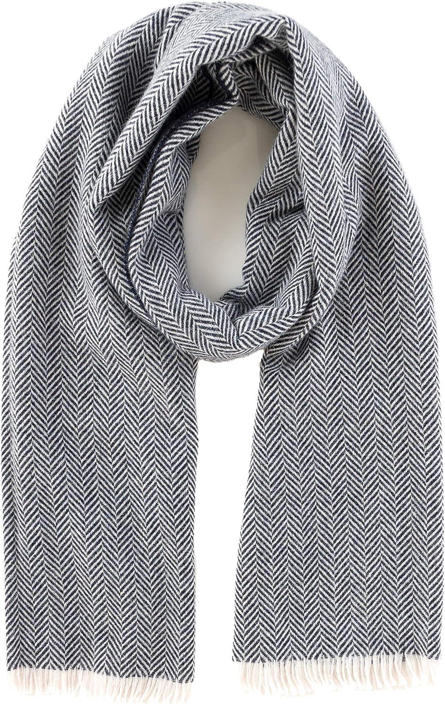 Angiola Made in  Women Fringed Herringbone Wool Scarf Wrap Stole Soft Warm Comfy