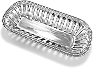 Wilton Armetale Flutes and Pearls Bread Serving Basket, 15-Inch-by-7.25-Inch