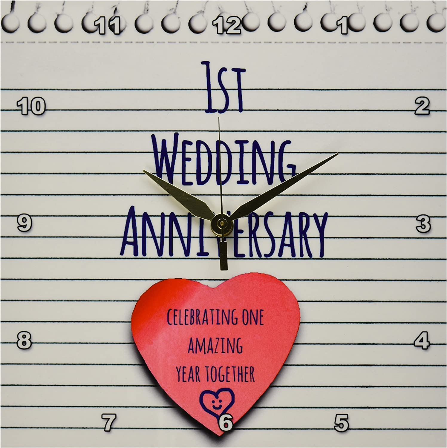 3dpink DPP_154428_1 1st Wedding Paper Celebrating 1 Year Together First Anniversaries One Year Wall Clock, 10 by 10-Inch