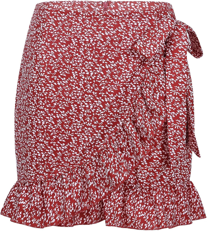 ranrann Women's High Waist Ruffles Miniskirts Zippered Lace Up Summer Casual Short Skirts