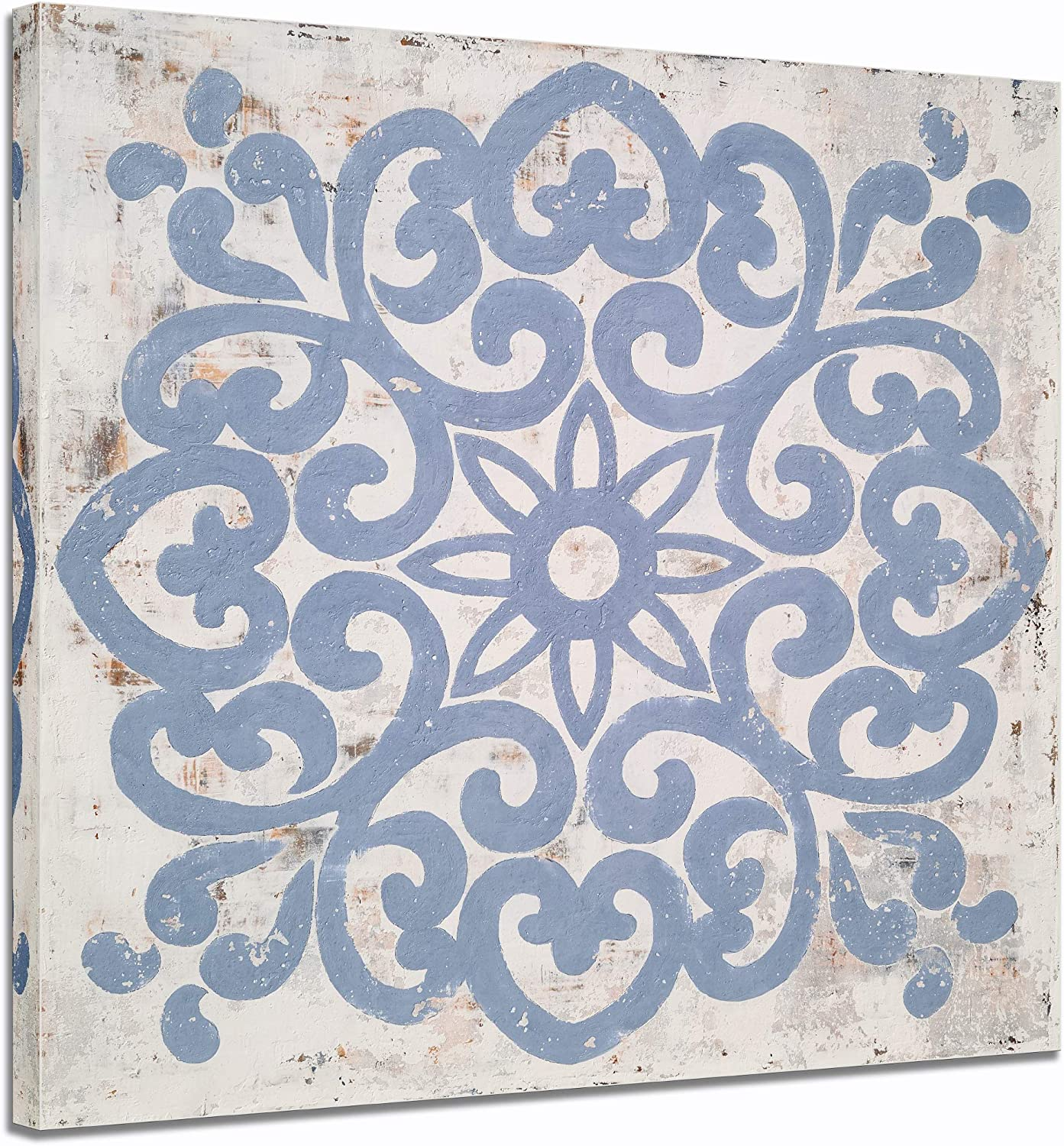 Yihui Arts Boho Canvas Wall Art Hand Painted Blue and White Pictures Modern Abstact Vintage Bohemian Painting for Living Room Bedroom Bathroom Decor