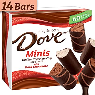 DOVE Minis Ice Cream Bars Variety Mix, Vanilla and Chocolate Ice Cream With Dark Chocolate 14-ct Box (Frozen)