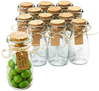 Small Clear Glass Cork Lid Bottles Jars Party Sweets Wedding Table Favours 6x10