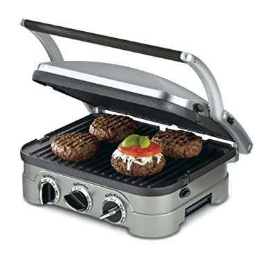 Cuisinart GR-4N 5-in-1 Griddler, 13.5 (L) x 11.5 (W) x 7.12 (H), Silver with Silver/Black Dials