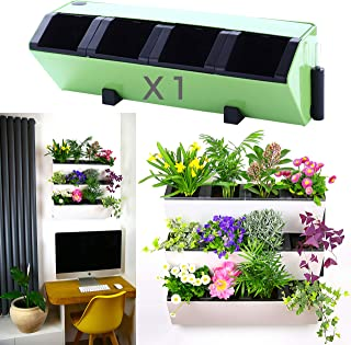 Self Watering Wall Planter by My Easygro | Indoor or Outdoor Living Wall Vertical Hanging Planter | Urban Garden Herbs Flowers Vegetables | Stand Wall or Balcony Mounted | (Green)