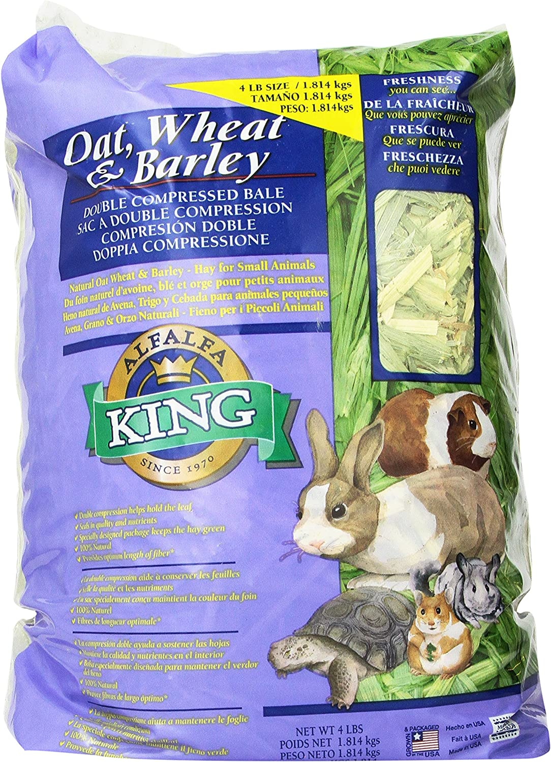 Alfalfa King Double Compressed Oat Wheat And Barley Hay Pet Food, 12 By 9 By 5Inch