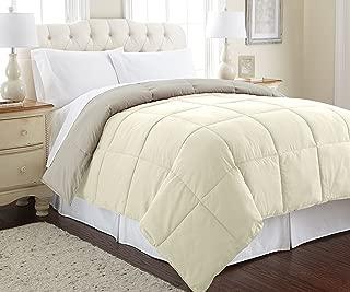 Amrapur Overseas Goose Down Alternative Microfiber Quilted Reversible Comforter / Duvet Insert - Ultra Soft Hypoallergenic Bedding - Medium Warmth for All Seasons - [King, Ivory/Atmosphere]