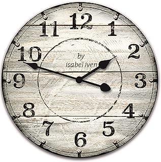 Isabel Iven Wanduhr Vintage ohne Tickgeräusche im Retro Stil mit Lautlosem Uhrwerk - Große Wand Uhr 30 cm Durchmesser aus MDF