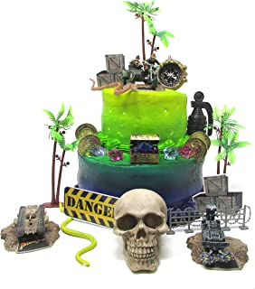 Indiana Jones 25 Piece Deluxe Cake Topper Set with Indiana Jones Figures and Decorative Themed Accessories