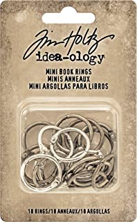 Tim Holtz Idea-ology Mini Book Rings 18/Pack, 3/4 Inch Rings, Antique Nickel, Brass and Copper (TH93272)