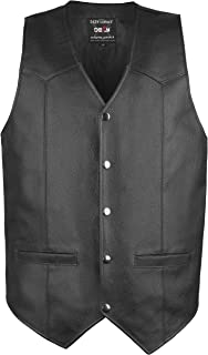 DEFY Men's Motorbike Vest Club Style Classic Genuine Leather Vest with Gun Pockets Full Solid Back (Small)