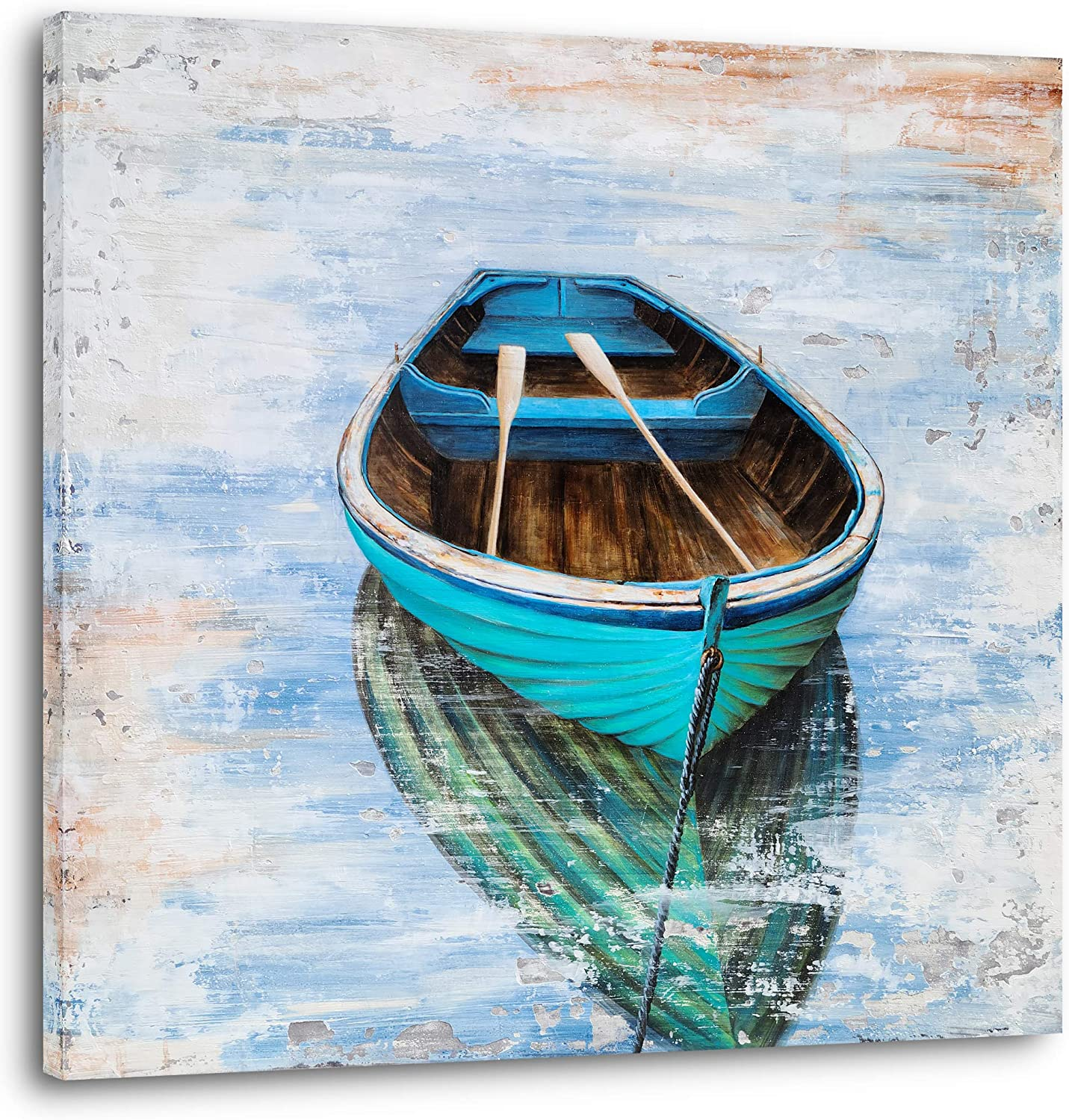 YHSKY ARTS Coastal Canvas Wall Art Hand Painted Turquoise Sailing Boat Painting Pictures Modern Abstract Nautical Artwork for Living Room Bedroom Bathroom Decoration