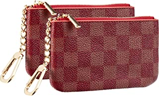Rita Messi Luxury Checkered Zip Coin Pouch Purse Change Holder Wallet with Key Chain 2 pcs Set (Scarlet)