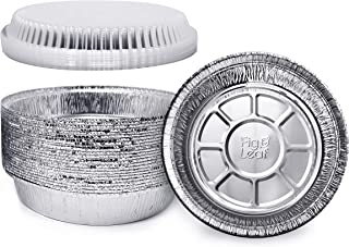 "Fig & Leaf (60 Pack) Premium 7-Inch Round Foil Pans with Plastic Dome LIDS l Heavy Duty 24 Gauge l 2"" High Walls to Prevent Spills l Disposable Aluminum Tin for Roasting, Baking, or Cooking"