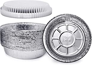 """Fig & Leaf (60 Pack) Premium 7-Inch Round Foil Pans with Plastic Dome LIDS l Heavy Duty 24 Gauge l 2"""" High Walls to Prevent Spills l Disposable Aluminum Tin for Roasting, Baking, or Cooking"""