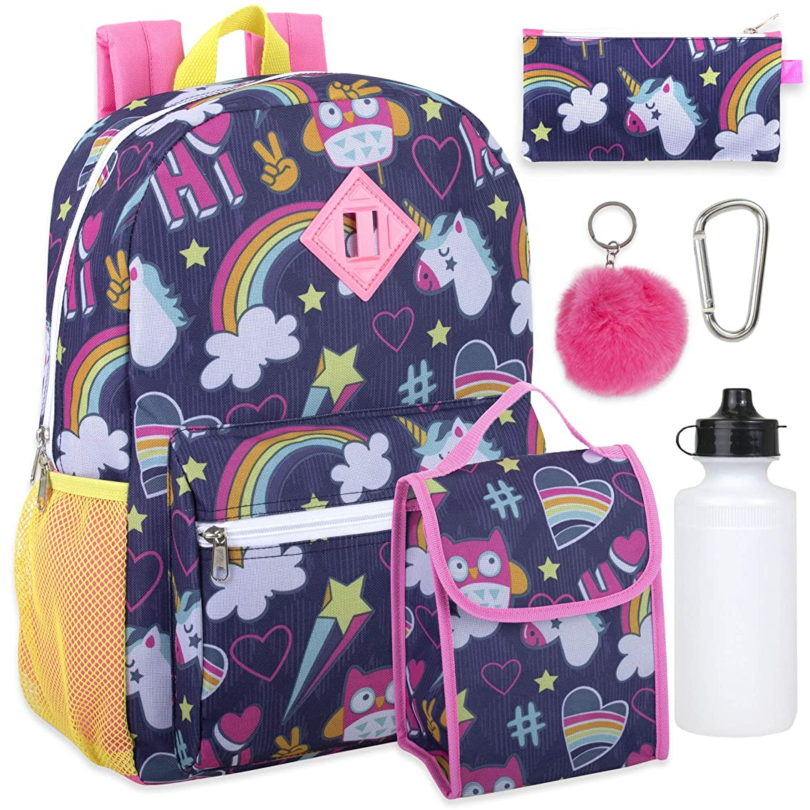 Girl's 6 in 1 Backpack Set With Lunch Bag, Pencil Case, Bottle, Keychain, Clip (Unicorn clouds)