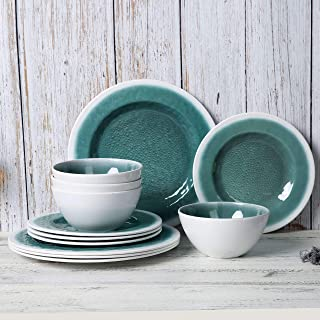 Melamine Dinnerware Set - 12pcs Dishes Dinnerware Set for Everyday Use, Service for 4, Dishwasher safe