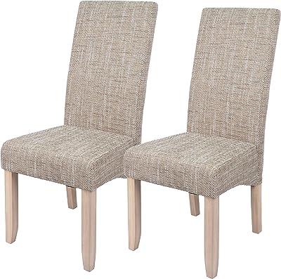 Abitti Pack 2 sillas para Comedor o Salon tapizadas en Color Arena y Estructura de Pino