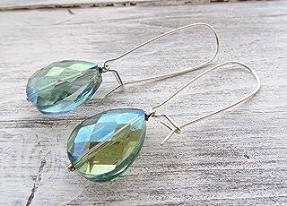 Orecchini con gocce in cristallo verde chiaro, pendenti in argento 925, gioielli contemporanei, bijoux matrimonio, gioiell...