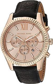 Michaël Kors - Lexington - Reloj análogico de cuarzo con correa de cuero para hombre, color negro/oro rosa