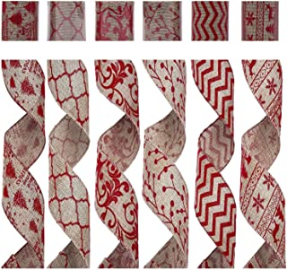 SANNO Wired Burlap Christmas Ribbon, Holiday Party Ribbon Decorations, Assorted Rustic Patterns Classic Fabric Ribbons Crafters Ornaments 36 Yards (2.5