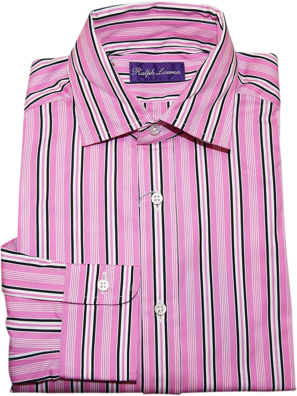 Ralph Lauren Polo Purple Label Mens Dress Shirt Pink Black Stripe Italy Small