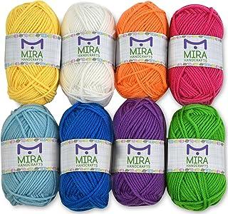 Mira Handcrafts 8 Acrylic Yarn Bonbons   Total of 525 yards Craft Yarn   Includes 2 Crochet Hooks, 2 Weaving Needles, 7 E-books   DK Yarn for Knitting and Crochet   Perfect Beginner Kit