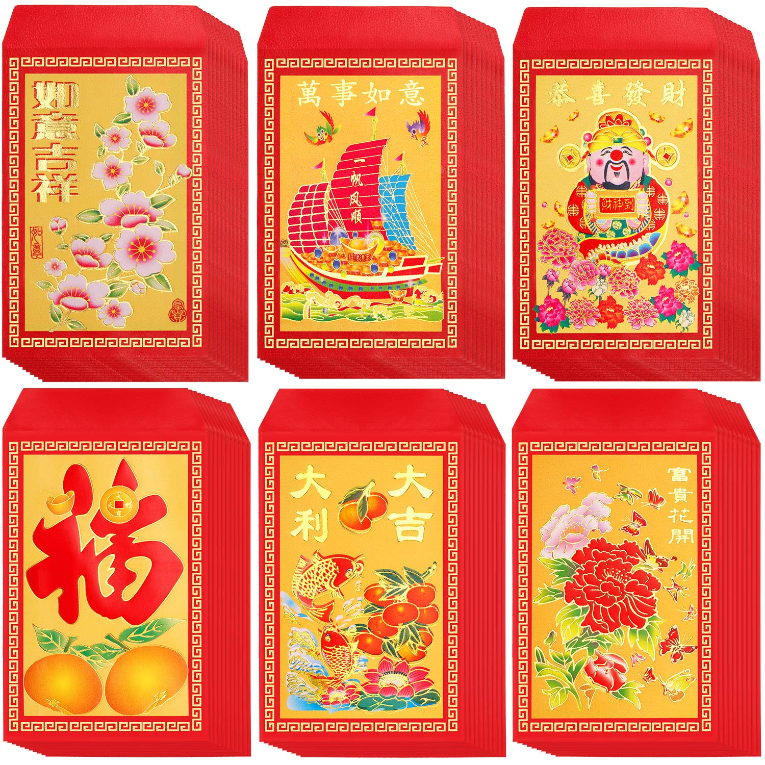 120 Pieces Chinese Red Envelopes Hongbao Year of The Lucky Money Envelopes Money Pockets for Party and Chinese New Year, 4.72 x 2.75 Inch (Flower, Sailboat)