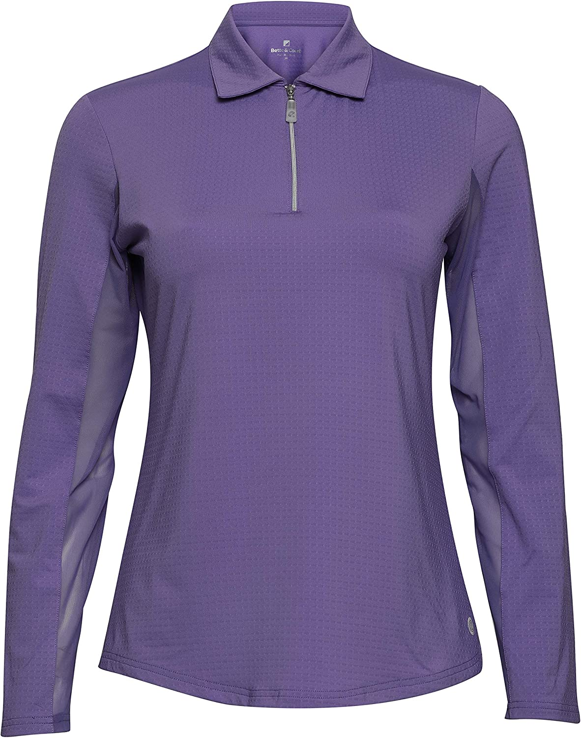 Nashville-Davidson Mall Bette Court Womens Long Limited price sale Sleeve Ce with and Polo Collar M Solid