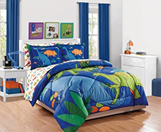 MK Collection 7pc Full Comforter Set Dinosaurs Blue Green Orange New # Dino White
