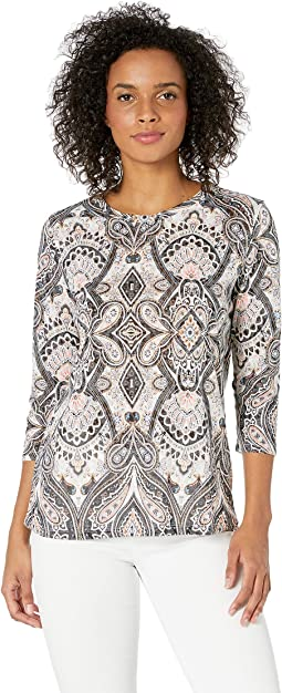 Printed Knit Burnout 3/4 Sleeve Blouse