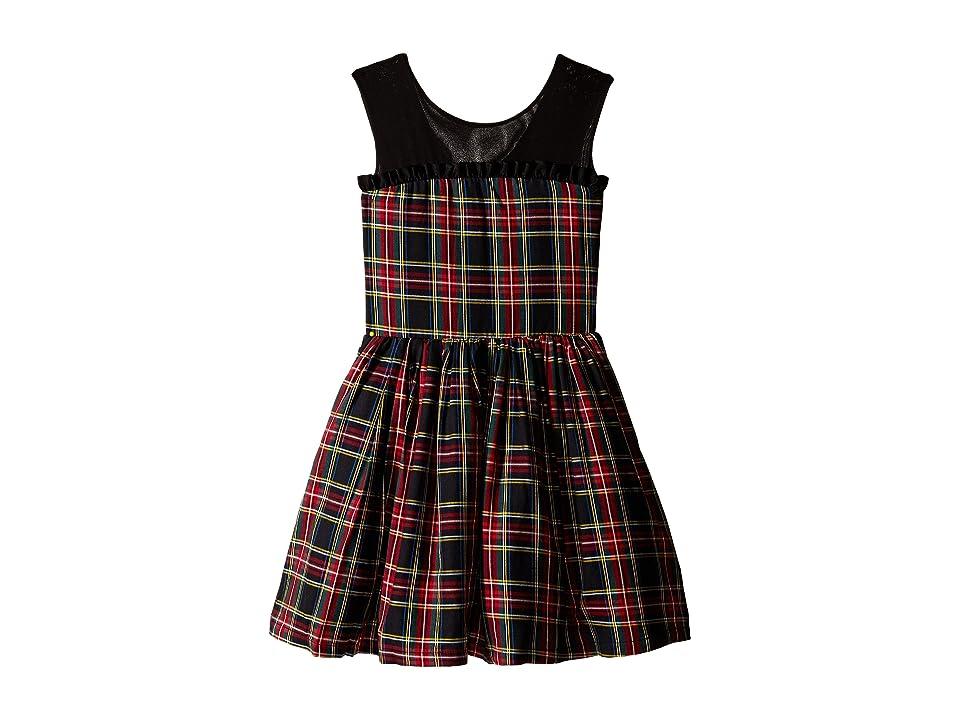 fiveloaves twofish Winter Tartan Party Dress (Little Kids/Big Kids) (Black) Girl