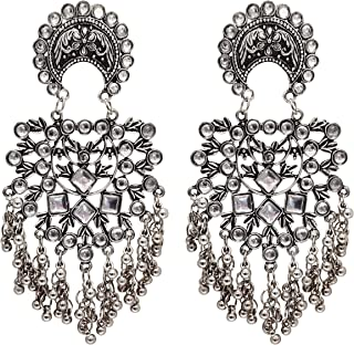 Total Fashion Traditional Silver Oxidised Antique Stylish Designer Afghni Big Dangle Drop Earrings for women and girls