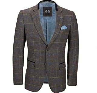Xposed Mens Classic Tweed Suit Jacket Grey Brown Tonal Blue Check Smart Tailored Fit Blazer