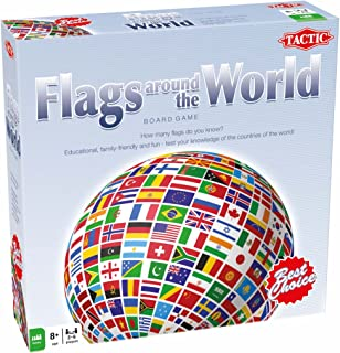Tactic Games US Flags Around The World Family Board Game - Multiple-Choice Questions - Educational & Fun - Play & Learn About Flags, Nations & Geography