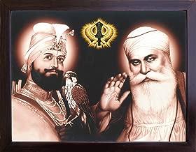 Gurunank Dev Ji and Sikh Guru Guru Gobind Singh ji with his eagle and Sikh symbol Kandha, A Sikh Religious painting poster with frame, must for Sikh family home / office / Sikh Religious/ Gurudwara