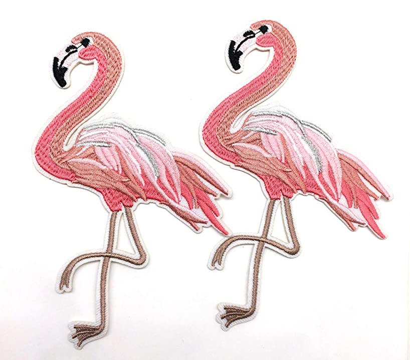 PEPPERLONELY 2PC Flamingo Iron On/Sew On Embroidered Patch Applique, 10 x 15cm
