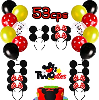 MALLMALL6 53Pcs Mickey Party Supplies Kit Mickey Minnie Themed Inspired Birthday Party Favor Mickey 2nd Cake Topper Mickey Ears Bow Headband Mickey Latex Balloons Baby Shower Decorations for Boys Girl