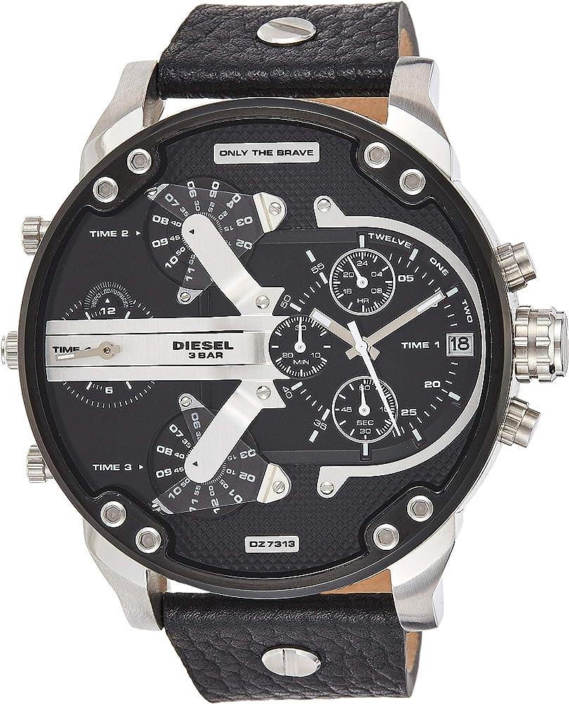 Diesel orologio cronometro analogico da uomo in acciaio inossidabile e cinturino in vera pelle DZ7313