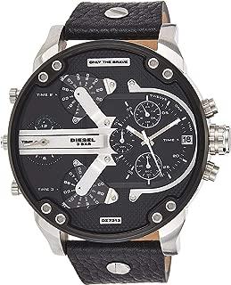 Diesel DZ7313 Mr Daddy 2.0 Black Silver Chronograph Date Dial Leather Men Watch
