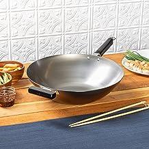 Joyce Chen 22-0060, Pro Chef Flat Bottom Wok Uncoated Carbon Steel, 14-inch