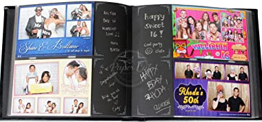 Paper Cut Design Shop Photo Booth Album - Easy Slide in 4x6 Plastic Slots - Holds 140 Photos - Storage Box Included 4x6 Photo Album - Black