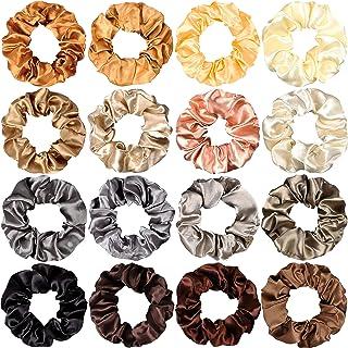 WATINC 16Pcs Silk Satin Hair Scrunchies Metallic Gold Silver Grey Scrunchie Champagne Hair Bobbles Ponytail Holder Brown B...