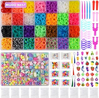 18000+ Rainbow Rubber Bands Twist Loom Set:17,000 Rubber Loom Bands Kits 28 Colors+ 550 Pieces Jewelry Kit, 500 Clips, 150+ Beads, 100 ABC Beads Bracelet Maker Making Kit, 40 Charms, 12 Backpack Hooks