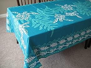 Honu Sea turtle under lawai Hawaiian Quilt Print Water Resistant Tablecloth 60
