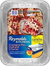 Reynolds Kitchens Disposable Aluminum Baking Pans with Carriers & Lids, 14x10 Inch, 3 Count