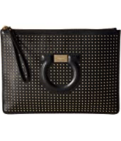 Salvatore Ferragamo - Gancio Studded Leather Clutch