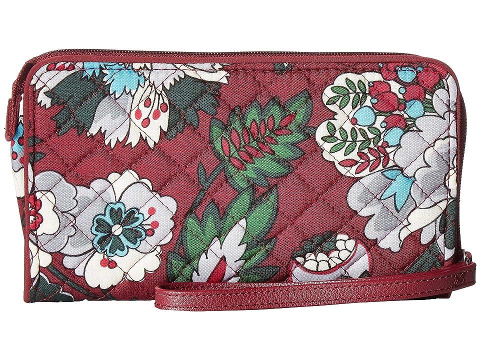 Vera Bradley Iconic RFID Front Zip Wristlet (Bordeaux Blooms) Wristlet Handbags