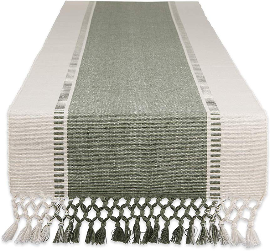 DII Artichoke Green Dobby Stripe Woven Table Runner 13x108